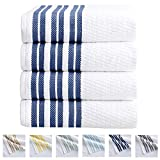 4-Piece Bath Towel Set. 100% Cotton Popcorn Textured Striped Bathroom Towels. Quick Dry and Absorbent Towels. Elham Collection. (4 Pack, Navy)