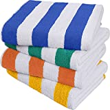 Utopia Towels Cabana Stripe Beach Towel (30 x 60 Inches) - 100% Ring Spun Cotton Large Pool Towels, Soft and Quick Dry Swim Towels Variety Pack (Pack of 4) (Blue, Yellow, Green, Orange)