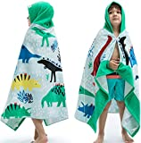Beach Bath Towel with Hood for Kids Toddlers Boys Girls 3 to 12 Years,Oversize Extra Size 50'x30',Super Soft Absorbent Cotton for Bath/Pool/Beach Swim Coverups Bathrobe,Dinosaur Theme