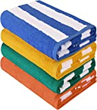 Utopia Towels Cabana Stripe Beach Towels (30 x 60 Inches) - Large Pool Towels (Blue, Yellow, Green, & Orange, Pack of 4)
