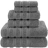 American Soft Linen Towel Set, 2 Bath Towels 2 Hand Towels 2 Washcloths Super Soft and Absorbent 100% Turkish Cotton Towels for Bathroom and Kitchen Shower Towel Dark Grey