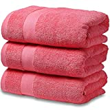 SEMAXE Towel Luxury Hotel & Spa Quality Bath Towel Set for Bathroom .Soft,Plush and Highly Absorbent Towel (Coral Pink, 3 Bath Towel)